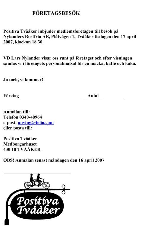 Inbjudan till Nylanders Rostfria