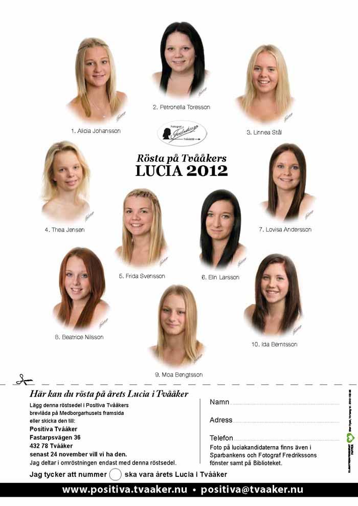 Rösta på Tvååkers Lucia 2012
